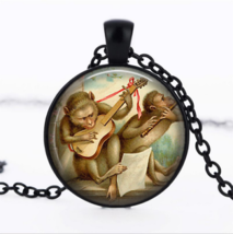 Monkeys Playing Guitar & Flute Cabochon Necklace >> Combined Shipping - $3.71