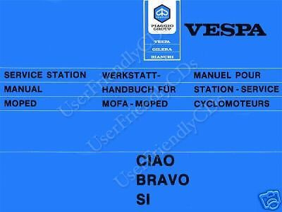 Vespa Ciao Bravo Si SCOOTER MOPEDS Repair SERVICE & PARTS Manual -2- MANUALS CD