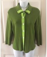 Isaac Mizrahi for Target Womens Medium Green Button Down Sweater 3/4 Sl... - $13.06