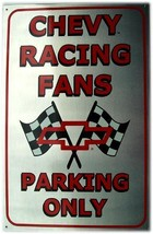 Chevy Racing Fans Parking Only Brushed Finish Chevrolet Metal Sign - $19.95
