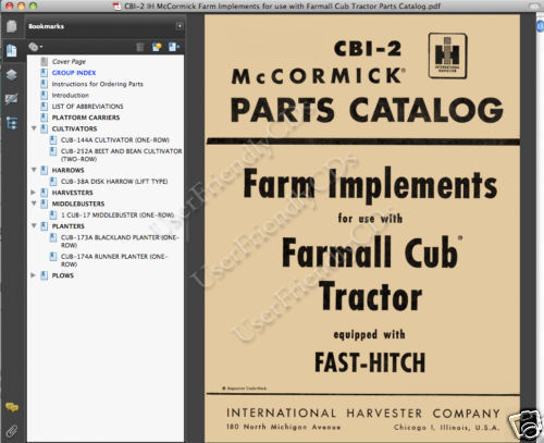 FARMALL CUB TRACTOR FARM IMPLEMENT PARTS CATALOG MANUAL EXPLODED PARTS VIEWS CD