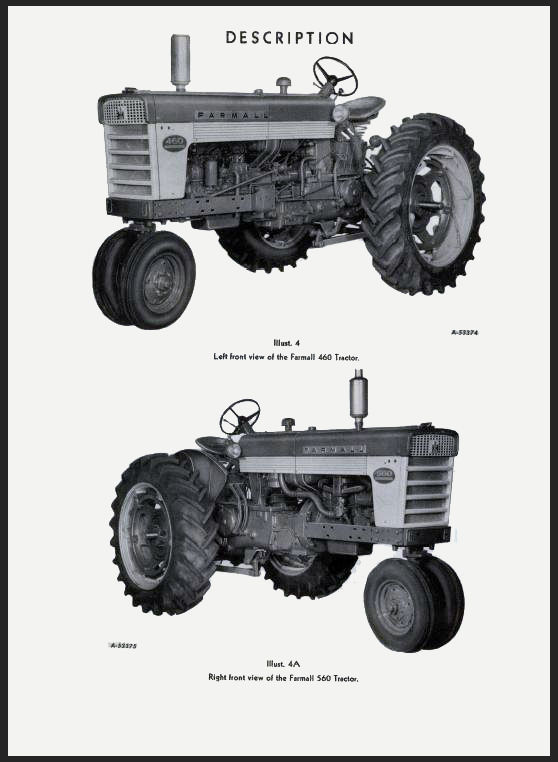 IH Farmall International 460 & 560 Hi-Clear TRACTOR Operators OWNERS MANUAL CD