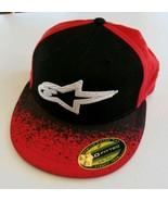Alpinestars Premium 210 Fitted Cap Hat 210 6 7/8 7 1/4 Flexfit Red Black... - $27.60