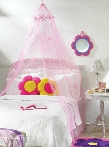 girls bed canopy net bedroom decor pink butterfly hangs from ceiling