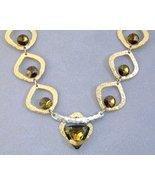 Amber Swarovski Crystal Gold Silver Designer Necklace Unique Handmade - $315.00