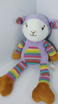 Animal Adventure lamb Plush Purple knit rainbow striped tummy arms legs ... - $24.74