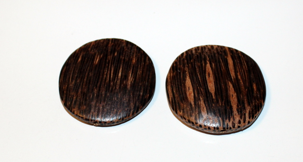 "WOOD JEWELRY BEADS PACKAGE OF 2 WOODEN DISCS 1 7/8"" X 3/8"" GREAT FOR EARRINGS!"