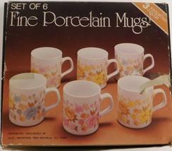 6 Fine Porcelain Mugs Flower Floral Pattern 3 Assorted Colors Pink Blue ... - $39.60