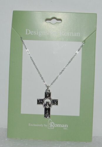 Roman Inc 60082 Celtic Cross Claddagh Necklace Silver Color 1 Inch