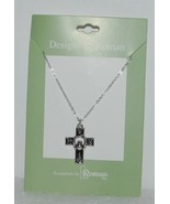 Roman Inc 60082 Celtic Cross Claddagh Necklace Silver Color 1 Inch - $13.95