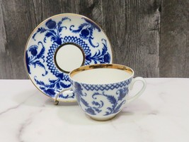 Lomonosov LFZ Russia Imperial Porcelain Cobalt Blue White Gold Cup and S... - $37.62