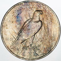21923-P PEACE SILVER DOLLAR NICE UNC VIVID NATURALLY COLOR TONED BU (MR) - $197.99