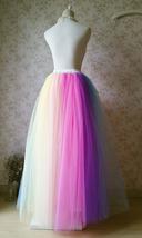 Adult RAINBOW Tulle Skirt Multi Colored Long Rainbow Tutu Skirts Plus Size  image 5