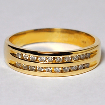 Custom Channel Set Diamond Wedding Band Ring Women 14K Yellow Gold Two Rows - $699.00