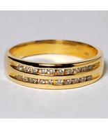 Custom Channel Set Diamond Wedding Band Ring Women 14K Yellow Gold Two Rows - $699.00
