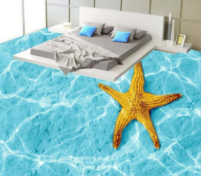 3D Sparkling Water Star Floor WallPaper Murals Wall Print Decal 5D AJ WALLPAPER