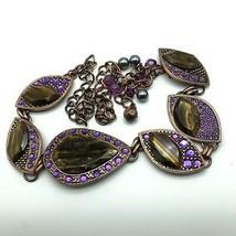Chicos Belt Copper Tone Metal Purple Rhinestones Faux Tiger Eye Adjustab... - $39.60