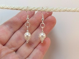 made w Swarovski Crystal Pearl Elements a White w Silver Accent Earrings HM - $13.86
