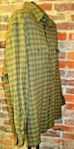 Mens Shirt Sz L Green Plaid Long Sleeve 2 Chest Pockets Caribbean Joe - $18.61