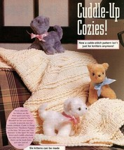 Z754 Crochet/Sewing PATTERN ONLY Cable Stitch Afghan & Furry Kittens Pat... - $7.50