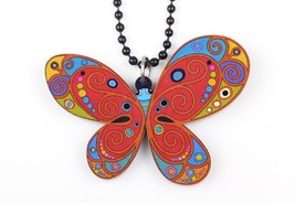 (MULTICOLOR)Bonsny butterfly necklace pendant acrylic 2015 news accessor... - $16.00