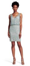 Adrianna Papell New Women's Slate  Beaded Mesh Blouson Cocktail Dress   8   $259 - $137.61