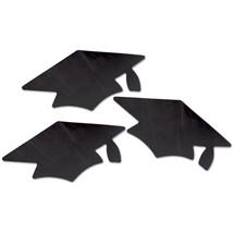 12 Metallic Black Thin Plastic Grad Caps Cutouts  - $8.65