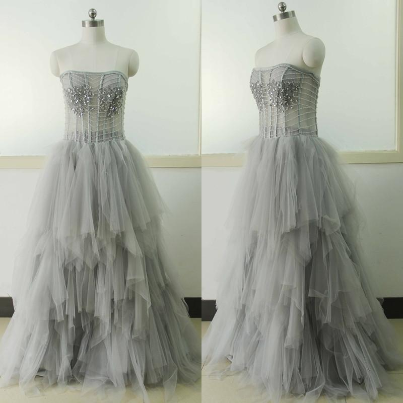light gray prom dress,tulle Prom Dress,long prom dress,strapless prom dresses