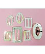 Lot of 7 Vintage White Mother of Pearl Ribbon Slides Assorted Shapes and... - $24.26