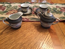 Two Dragons Hand Painted Teacups & Saucers + Cr... - $10.99