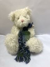 "Trundle 1999 Boyds Bears 12"" teddy bear with plaid chenille blanket Whit... - $24.74"