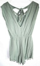 Charlotte Russe Pale Mint Green Sleeveless Tieback Romper w Lace Accents Size S image 2