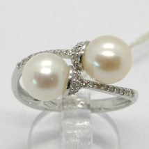 18K WHITE GOLD BAND PEARL ZIRCONIA RING DOUBLE CROSSED, contrariè, MADE IN ITALY image 1