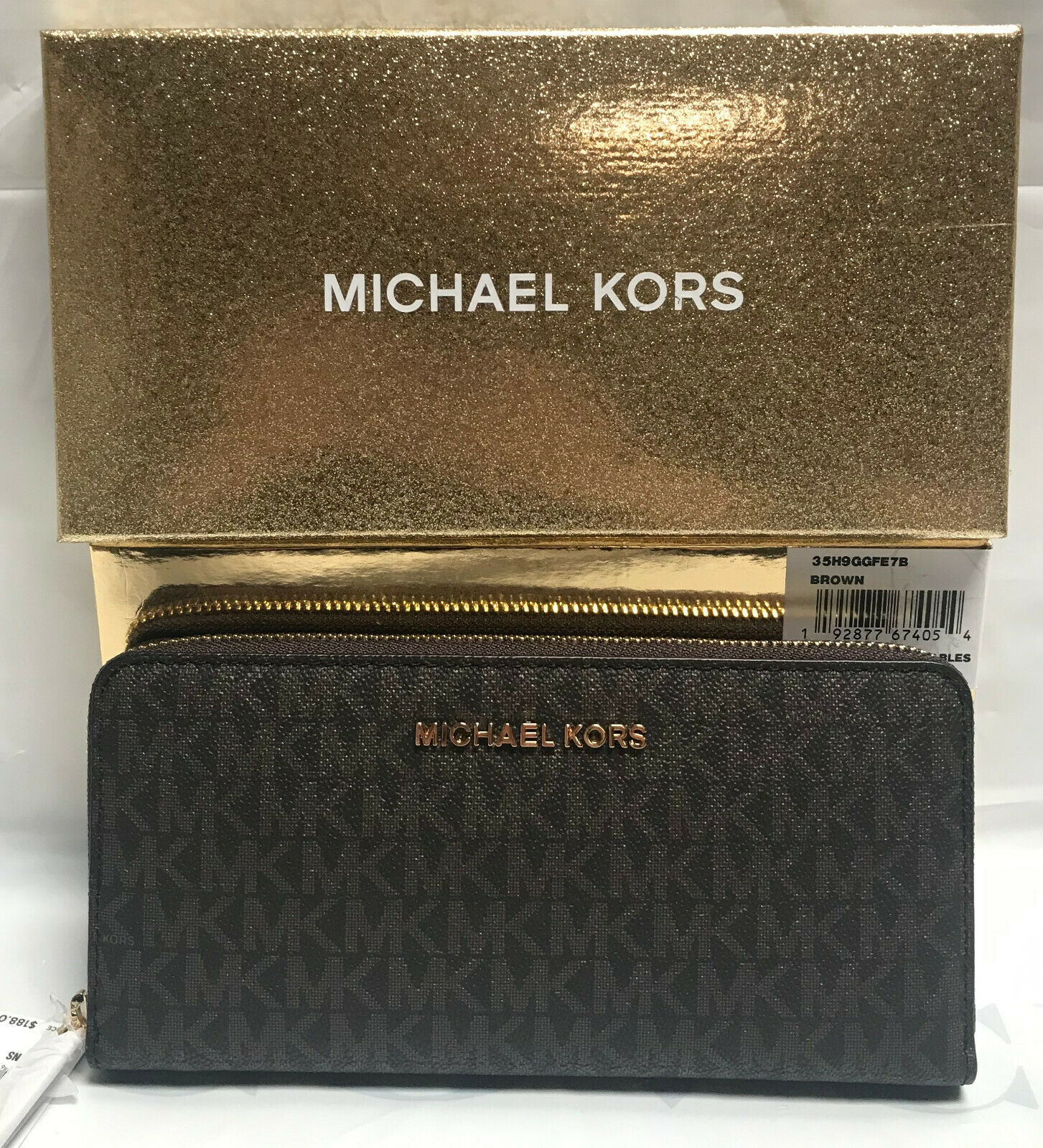Primary image for Michael Kors Giftables Large Zip Around Continental Wallet with Gift Box - Brown
