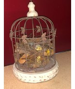 Distressed Metal and Porcelain Bird Cage with Eggs - $31.93