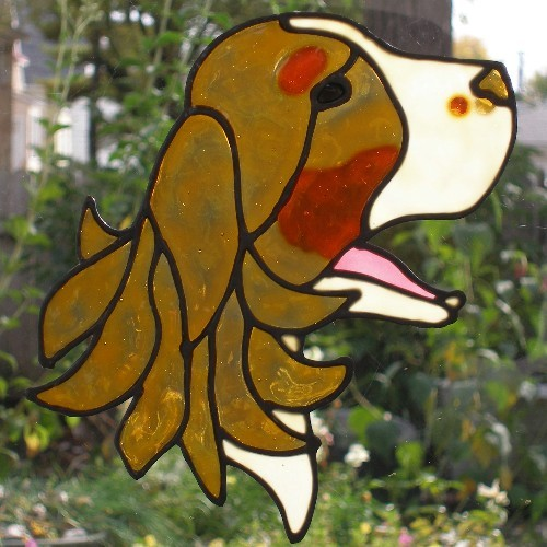 Dog head English Springer Spaniel reusable sun catcher, large decal tri colored