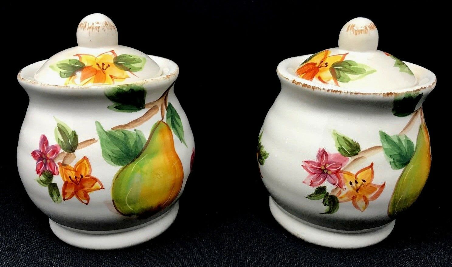 2 Maxcera Harvest Fruits 2 Sugar & 1 Creamer Set  Distressed Finish