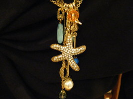 Dreams Of The Seashore Necklace Huge Rhinestone Starfish Se image 1