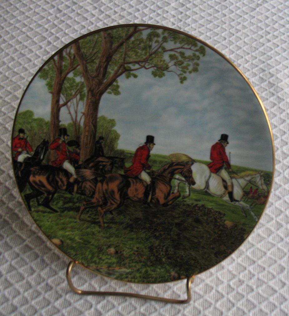 RARE VINTAGE Royal Grafton HERRING Hunting Scenes Plate No. 2 Fine Bone China