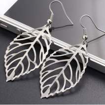 Big Silver Maple Leaf Leave Long Metal Hollow Dangle Earrings Fashion Je... - $6.75
