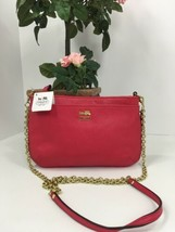 Coach Crossbody Bag Madison Leather Zip  48515 Punch Pink Red  B5 - $84.14