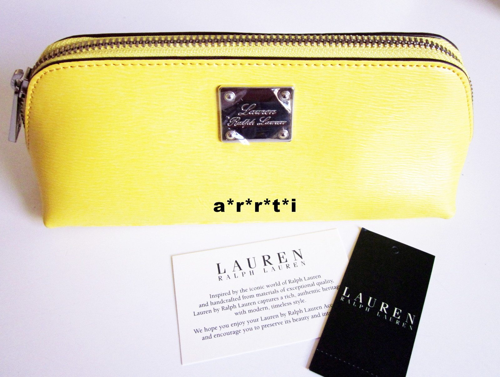 Primary image for Ralph Lauren Leather Newbury Sm. Triangle Cosmetic Brush Pencil Case Lemon NWT