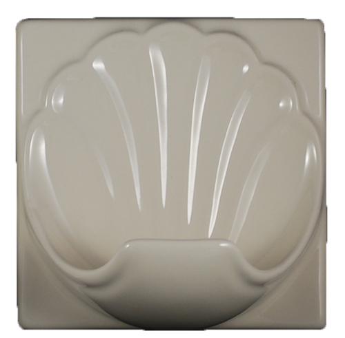 Porcelain Soap Dish  Shell Large - Bone Almond Glossy Bonanza