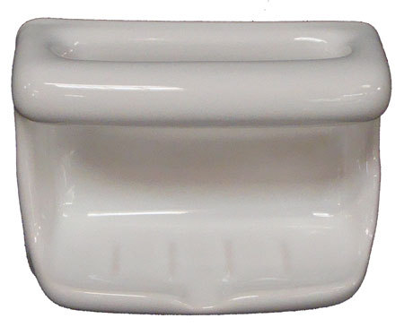 Porcelain Soap Dish with Wash Cloth - White