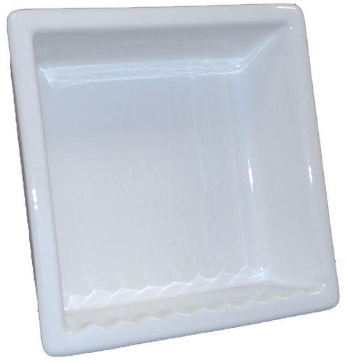 Recessed Shampoo - Square Porcelain - Ice White Bonanza