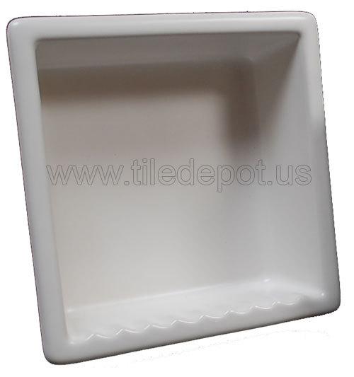 Recessed Shampoo - Square Porcelain White Matte Bonanza
