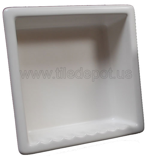 Recessed Shampoo - Square Porcelain White Matte
