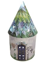 MARIGOLD DEWDROP BLUE GREEN FLORAL FAIRY HOUSE LED LIGHT UP CARD LANTERN... - $23.46