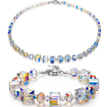 50s Crystal Choker Necklace Vintage Clear Faceted Rainbow Aurora Borealis Beads - $14.99