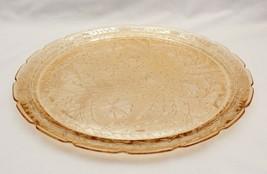 Jeannette Glass Louisa Florigold Carnival Luster Platter 13 Inches Diameter - $22.43